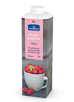 Fruktyoghurt 1% Hallon